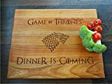 Dinner is Coming cherry cutting board 12x10 inches Wooden Chopping block. Birthday gift. Gift for him