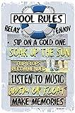 Dyenamic Art Pool Rules Metal Sign Swimming Pool