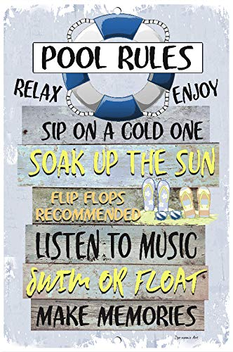 Amazon.com: Dyenamic Art Pool Rules Metal Sign Swimming Pool ...