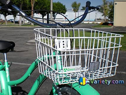 BICYCLE METAL BASKET CLIP ON//OFF WHITE HANDLEBAR MOUNT CRUISER CYCLING NEW