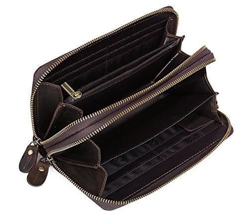 Modelshow Herren Echtleder Doppelt Reißverschluss Brieftasche Tasche Clutch