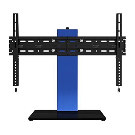 OLLO 30-52 Anodized Blue Brushed Aluminum Table Top TV Stand, 77 Lb. Capacity, Tilt-5 10 , Rotation – 30 Anodized Blue Finish, LED, LCD, TT-03 Blue