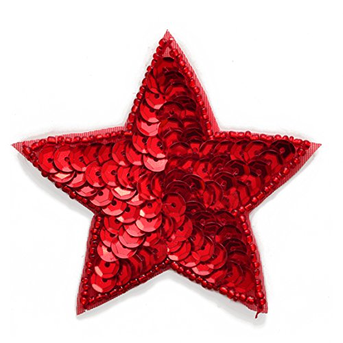 2-pcs RED Star Shape Beaded Sequin Patch Applique, 3