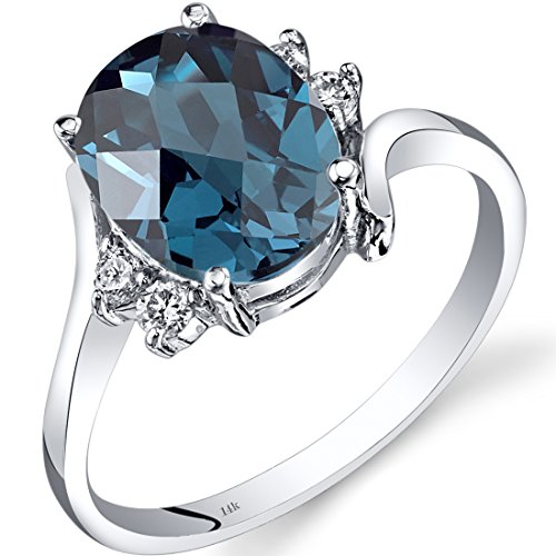 - 14K White Gold London Blue Topaz Diamond Bypass Ring 2.75 Carat