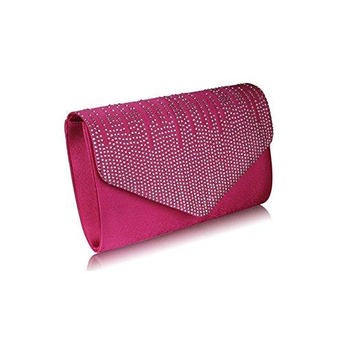 Bolso de mano para mujer, diseño de lentejuelas, para fiesta de graduación, boda, fiesta de tarde Pink Envelope Clutch