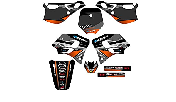 Senge Graphics kit compatible with KTM 2001-2002 EXC Surge Black Graphics Kit