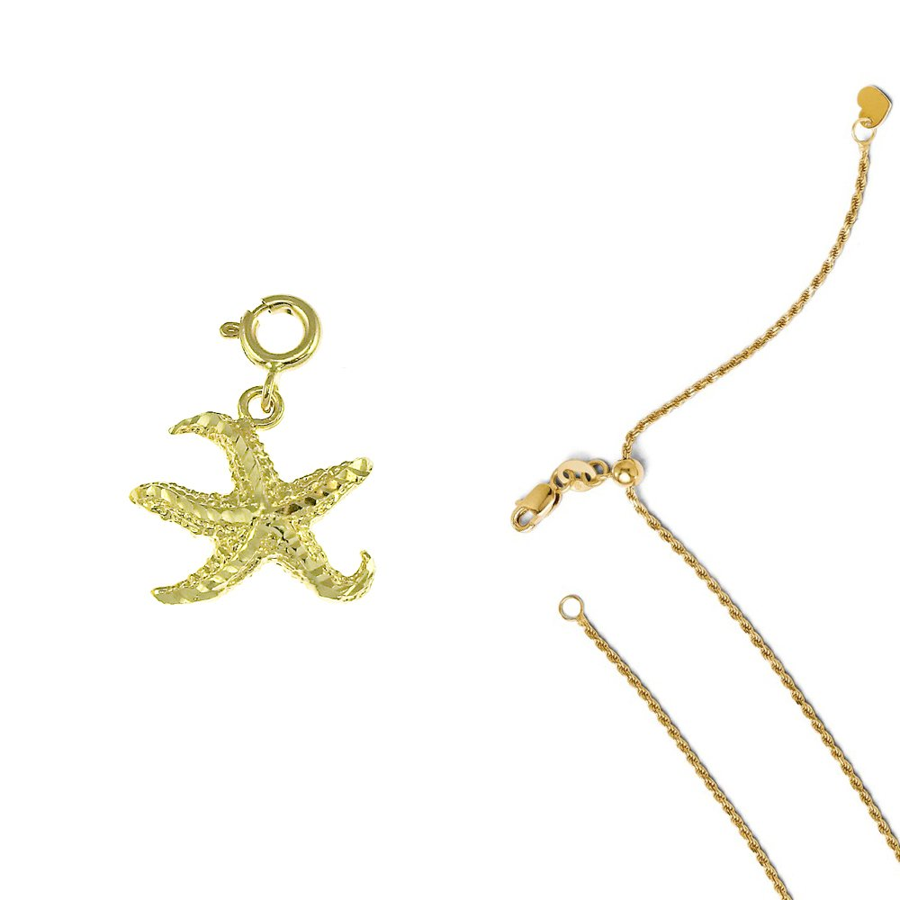 14K Yellow Gold Starfish Pendant on an Adjustable 14K Yellow Gold Chain Necklace
