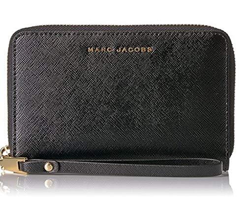 Marc Jacobs Saffiano Bicolor Zip Phone Wristlet, Black/Mink