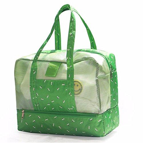 Tiene bolsa, bolso bolsa de playa seca y húmeda separación bolsa impermeable de gran capacidad, natación Fitness Pack,Rosa palido Verde
