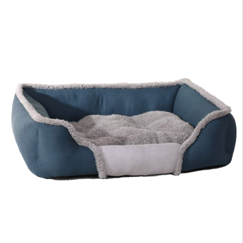 bluee L (79X60X19) bluee L (79X60X19) JiaJia- pet Dog mat Sleep Mattress Orthopedic Plush Mattress Pet Bed for Cats Solid Memory Foam-Pet Products Lounge Deluxe Sofa-Style Bed Kitten Puppy pet nest (color   bluee, Size   L (79X60X19))