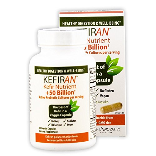 Lane Labs - Kefiran, Kefir Nutrient + 50 Billion Active Probiotic Cultures, Gluten Free, Vegan, Supports Optimal Digestive Health (60 Vegetable Capsules)
