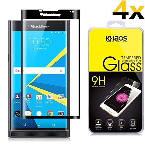- [4-Pack] KHAOS for BlackBerry PRIV 3D Full Cover Tempered Glass Screen Protector for BlackBerry Priv,