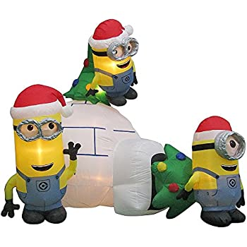 despicable me minion made minions scene airblown inflatable christmas decoration 8ft - Minion Christmas Inflatable