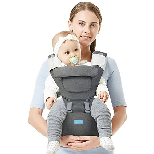 Srotek Baby Carrier, Baby Hip Seat Carrier Backpack, Ergonomic Safe Breatheable Baby Carrier ,4 Safe Positions for Infants and Toddlers (Grey) by Srotek