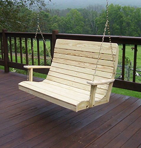 (Amish Porch Swing, 4 ft Outdoor Hanging Porch Swings, Traditional Patio Wooden 2 Person Seat Swinging Bench, Pressure Treated Wood in Unfinished & Oak or Rustic Gray Stain (Unfinished)