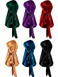 Tatuo 6 Pieces Stretchable Luxury Velvet Durag Cap Straps Headwraps with Long Tail and Wide Straps (Color A)