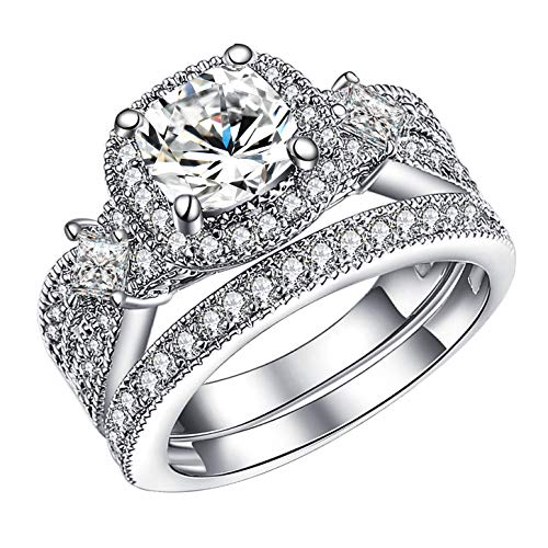 GuqiGuli 925 Solid Sterling Silver Princess and Cushion Cut Cubic Zirconia Bridal Wedding Band Engagement Ring Sets Size 7