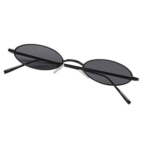 AOLVO - Gafas de Sol ovaladas pequeñas, diseño Vintage con Marco de Metal Retro, Redondas, HD, para Mujeres y niñas C1
