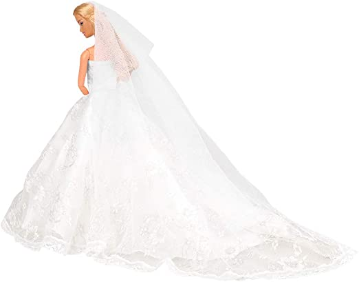 Fashion Party Princess Dress Wedding Clothes//Gown+veil For 11.5 inch Doll #34