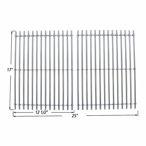 Onlyfire BBQ Stainless Steel Rod Cooking Grates / Cooking Grid Replacement Fit for Charbroil Great Outdoors and Vermont Castings Grills and Others, Set of 2