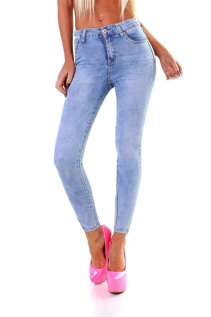 4581 Damen Jeans Röhre Skinny Damenjeans Stretch Denim Slimfit Spitze Ankle