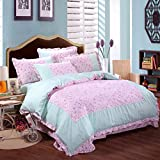 SAYM Home Bedding Sets Korean Fashion Elegant Rural Style Floral Queen Size Set For Lovely Princess Teen Girls, Lady 100% Cotton Duvet Cover, Flat Sheet, Shams Set 4Pieces