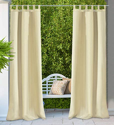 HGMart Outdoor Curtain Panel for Porch Patio,Privacy Drape Hook and Loop Tape Window Curtain with UV Ray Protected and Waterproof ,Easy to Hang On 50