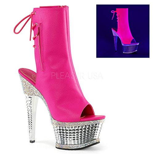 Pleaser ILLUSION-1018RS Neon H. Pink Faux Leather/Slv Chrome