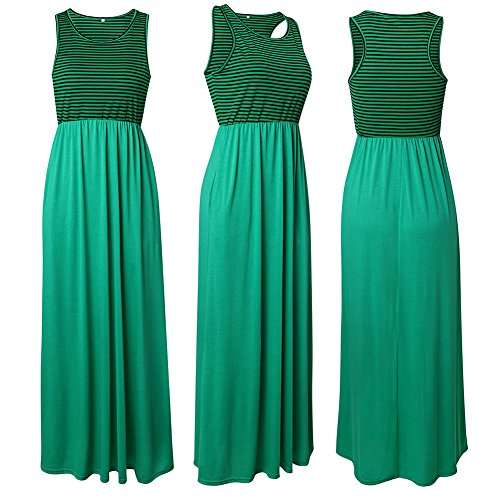 Di Green2 Colore Abiti Con Ael Solido Da Dalla Righe Stampati Donne Le A Lunghi Vestito Abiti Per Maglia Casuali Tasche pCSHwq0