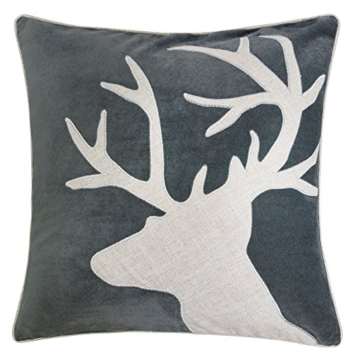 Homey Cozy Applique Gray Velvet Throw Pillow Cover, Merry Christmas Series Reindeer Horn Luxury Soft Fuzzy Cozy Warm Slik Decorative Gift Square Couch Cushion Pillow Case 20 x 20 Inch, Cover Only (Reindeer Cushion)