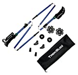 GoBudi Collapsible Hiking Poles: Lightweight Soft Grip Trek Sticks + Accessories Set in Carry Bag| Sturdy Aluminum, Easy to Assemble Trekking Poles for Path, Trail, Mountain, Walking, Hiking & Skiing