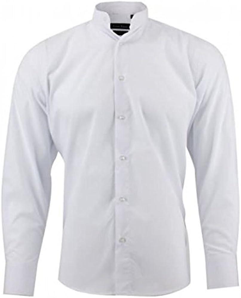 Camisa Cuello Mao – para hombre – blanco blanco M: Amazon.es: Ropa y accesorios