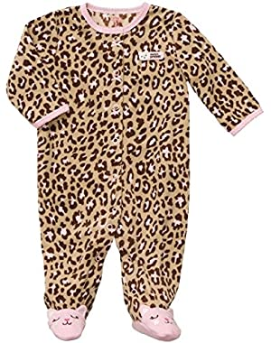 Pink Kitty Leopard Fleece Sleep & Play 3 Months