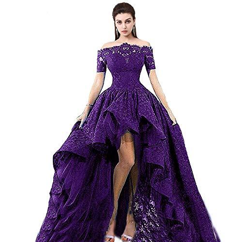 3b08c6b6a8 ZVOCY Women's Lace Prom Dress Short Sleeve High Low Evening Dress Off The  Shoulder Formal Dress Plus Size Purple 10