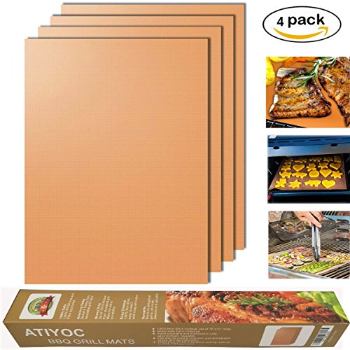 Atiyoc Copper Grill Mat, Non-stick and Heat Resistant Mats f