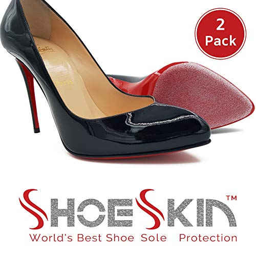 Non Slip Heel Protector (ShoeSkin - Clear Sole Protectors for Christian Louboutin Heels, Jimmy Choo, High Heels, Men's Shoes - Non Slip Texture - [2 Pack])
