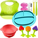 SAVOYCHEF 9-in-1 Feeding Set, Includes:Silicone Baby Plates and Baby Dishes - Silicone Bibs - Suction Silicone Bowl and Dishes for Toddlers - Includes Toothbrush and Teethers