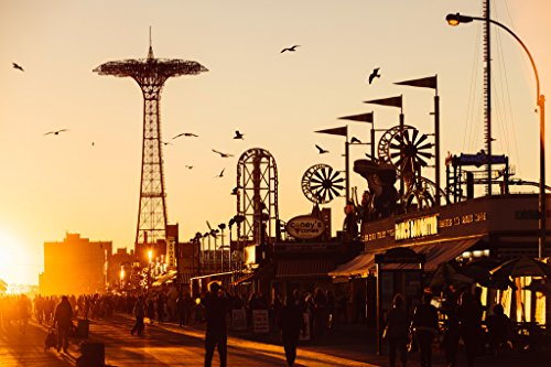 Coney Island Boardwalk Brighton Beach at Sunset Photo Art Pr