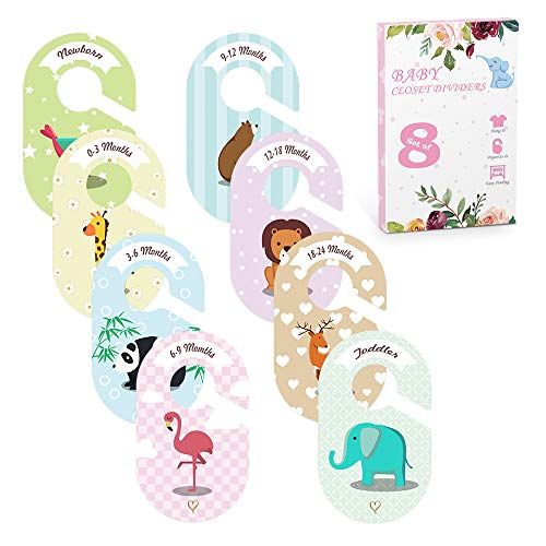 Best Price Closet Dividers for Baby Clothes, Selbor 8-Pack Animals Clothing Size Hanger Dividers fro...