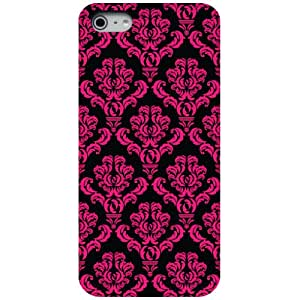 CUSTOM Black Hard Plastic Snap-On Case for Apple iPhone 5 / 5S - Black Hot Pink Damask Pattern