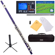 Mendini Closed-Hole Key of C Flute, Purple Lacquered and Tuner, Case, Stand, Pocketbook - MFE-PL+SD+PB+92D