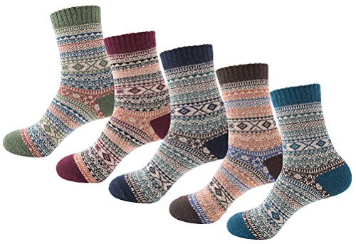 Searchself Men's VIntage Style Warm Wool Socks (Set (Mens Socks Style)