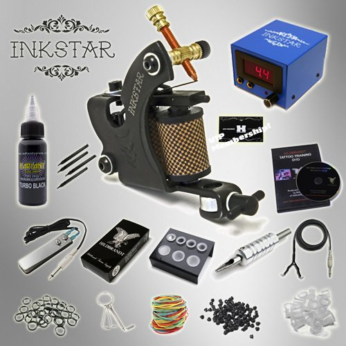 Complete Tattoo Kit Inkstar Venture C Machine Gun Power Supply Radiant Colors Professional Black Ink