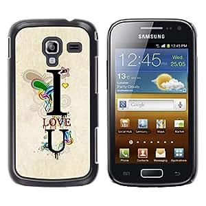 LECELL--Funda protectora / Cubierta / Piel For Samsung Galaxy Ace 2 I8160 Ace II X S7560M -- I Love You Teal Text U Heart Boyfriend --