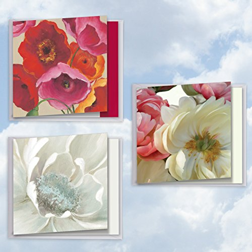 Price comparison product image AJQ5543TYG-C1x3 Big Blooms: Set of 3 Assorted New Thank You Cards Featuring Beautiful and Bold Images of Crisp Florals, with Envelopes - (3 Designs, 1 Card Per Design)