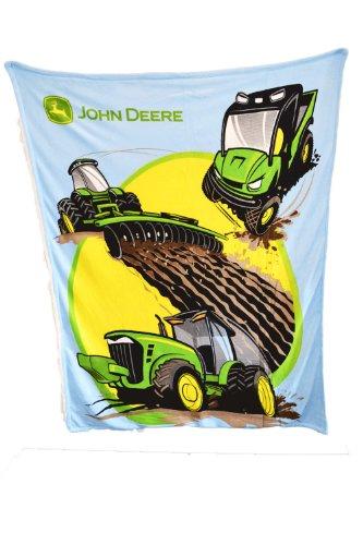 John Deere Tractors and More Thick Sherpa and Fleece Blue (John Deere Throw)
