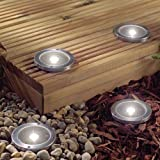 Solalite 2 Pack Solar Powered Ground Light Waterproof Garden Pathway Lights With 3 LEDs for Home, Yard, Driveway, Law