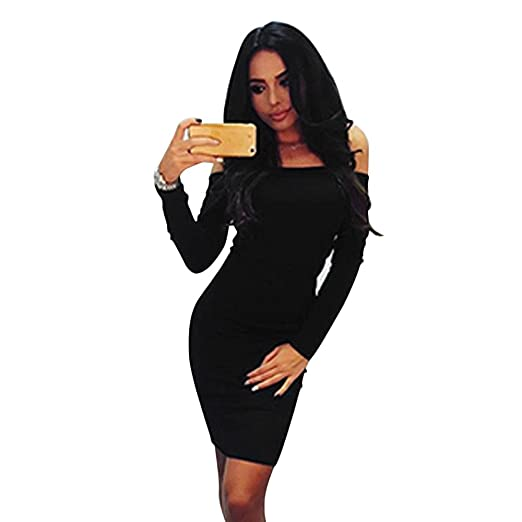 b7a12675f7619 Womens Long Sleeve Off Shoulder Sweater Dress Solid Knit Sweater Slim  Pencil Cocktail Wrap Bodycon Mini Dress at Amazon Women's Clothing store: