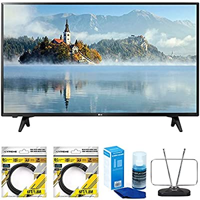 LG 43 inch Full HD 1080p LED TV 2017 Model (43LJ5000) with 2x 6ft High Speed HDMI Cable Black, Universal Screen Cleaner for LED TVs & Durable HDTV and FM Antenna