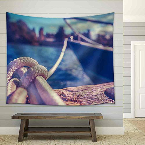 Retro Filtered Photo of a Luxury Yacht Tied to Pier Fabric Wall Tapestry